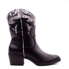 Γυναικεία μπότα cowboy με snake λεπτομέρεια 3670 OEM ΜΑΥΡΟ